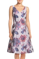 Adrianna Papell Petite Women's Floral Print Fit And Flare Dress Evening Purple