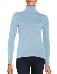 Lord And Taylor Petite Merino Wool Turtleneck Sweater Blue Shell Heather
