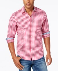 Weatherproof Men's Gingham Long Sleeve Shirt Contrast Cuffs Fuchsia