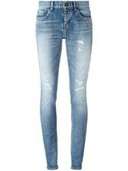 Saint Laurent Mid Rise Skinny Fit Jeans Blue