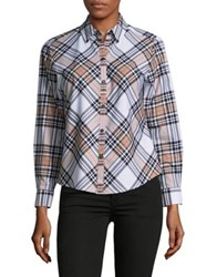 Lord And Taylor Cameron Plaid Button Down Shirt Camel Multi