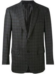 Brioni Check Blazer Men Cupro Wool 52 Grey