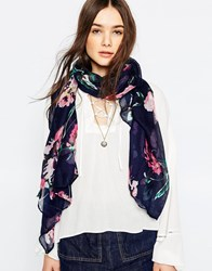 Yumi Floral Scarf Navy