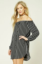 Forever 21 Stripe Off The Shoulder Dress Black Cream