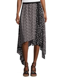 Rag And Bone Liv Floral Handkerchief Hem Midi Skirt Black Black Pattern