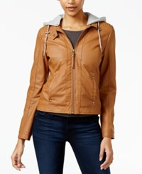 Celebrity Pink Hooded Faux Leather Jacket Cognac