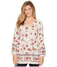 Miss Me Floral V Neck Bell Sleeve Tunic Cream White Clothing