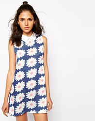 Glamorous Sleeveless Tunic With Collar In Daisy Print Daisyprint