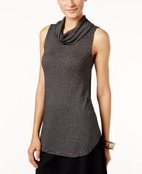 Alfani Printed Cowl Neck Shell Only At Macy's Deep Black