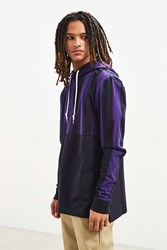Urban Outfitters Uo Hooded Rugby Shirt Purple Multi