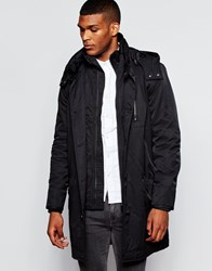 River Island Long Parka Jacket Black