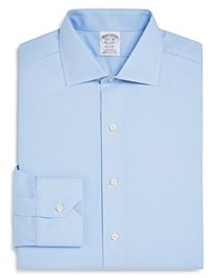 Brooks Brothers Regent Oxford Houndstooth Classic Fit Dress Shirt Light Blue