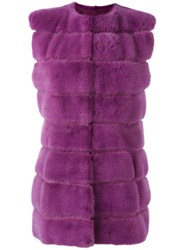Liska Fur Gillet Pink Purple