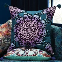 Cb2 Butterfly Wheel Teal With Tassels 20 Pillow With Feather Insert