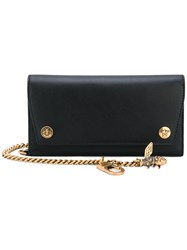 Gucci Long Chain And Bee Wallet Men Calf Leather One Size Black