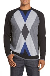 Bugatchi Merino Wool Argyle Crewneck Sweater Black