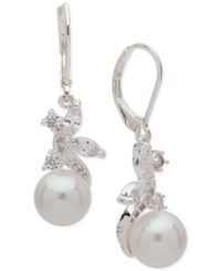 Anne Klein Silver Tone Cubic Zirconia And Imitation Pearl Drop Earrings