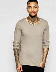 Asos Rib Extreme Muscle Long Sleeve T Shirt With Scoop Neck In Beige Brown