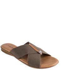 Andre Assous Nani Stacked Elastic Sandals Taupe