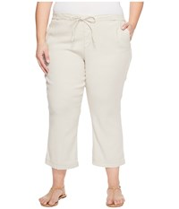 Nydj Plue Size Drawstring Ankle Pants In Stone Stone Women's Jeans White