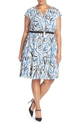 Plus Size Women's Sejour Crepe Georgette Cinched Waist Shirtdress Blue Swirling Wave Print