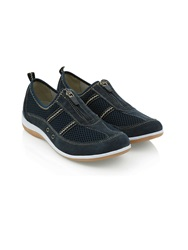 Dash Suede Zip Trainer Navy