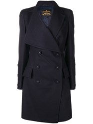 Vivienne Westwood Anglomania Oversized Lapel Double Breasted Coat Blue