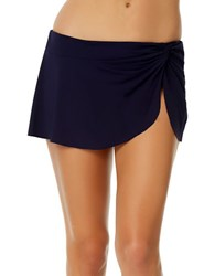 Anne Cole Knot Front Sarong Swim Skirt Blue