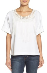 Women's Bobeau Fringe Detail Short Sleeve Top Ivory