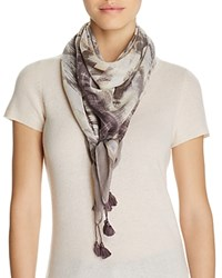 Fraas Brushed Geo Stripes Square Scarf Gray