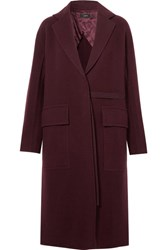 Joseph Silla Wool And Cashmere Blend Coat Burgundy