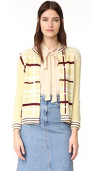 Wgaca Chanel Plaid Cardigan Sweater Previously Owned Yellow