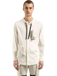 Alyx Hooded Cotton Poplin Shirt W Pockets Off White