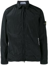 Stone Island Logo Badge Zip Up Jacket Black
