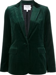 Frame Denim Single Breasted Velvet Jacket Green