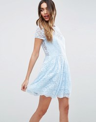 Asos Lace Skater Mini T Shirt Dress Baby Blue