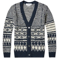 Thom Browne Donegal All Over Fair Isle Cardigan Navy Mix