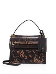 Valentino My Rockstud Small Embossed Leather Top Handle Satchel Brown Multi