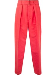 Cityshop Belted Peg Trousers Women Cotton Linen Flax Polyester 36 Pink Purple