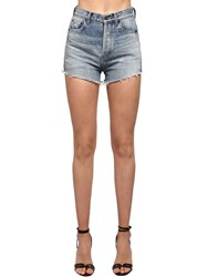 Saint Laurent High Waist Cotton Denim Shorts Dirty Used Blue
