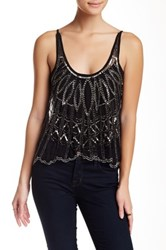 Angie Beaded And Sequin Mesh Tank Black