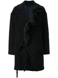 Unravel Project Ruffled Single Breasted Coat Black