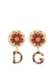 Dolce And Gabbana D And G Crystal Embellished Drop Earrings Multi