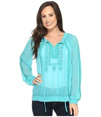 Roper 0790 Georgette Blouse With Embroidery Blue Women's Blouse