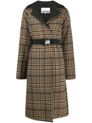 Ganni Check Quilted Coat Neutrals