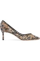 Jimmy Choo Romy 60 Swiss Dot Tulle And Corded Lace Pumps Black
