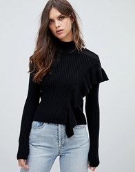 Miss Sixty Turtle Neck Knit With Ruffle Detail Black