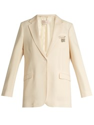 Christopher Kane Single Breasted Stretch Wool Blazer Cream