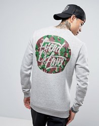Friend Or Faux Camo Print Sweater Grey