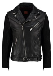 Boss Orange Jetz Leather Jacket Black